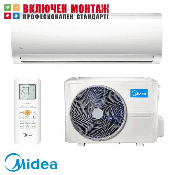 Инверторен климатик Midea MA-09NXD0 / MA-09N8D0 Blanc, 9000 BTU, клас А++